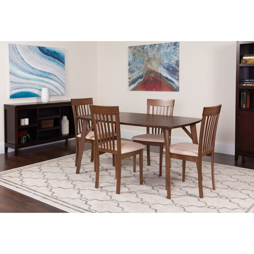 Our Bromley 5 Piece Walnut Wood Dining Table Set with Rail Back Wood Dining Chairs - Padded Seats is on sale now.