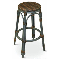 Key Largo Collection Outdoor Backless Barstool with Black Frame and Safari Seat
