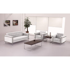 HERCULES Lesley Series Contemporary Melrose White LeatherSoft Chair with Encasing Frame