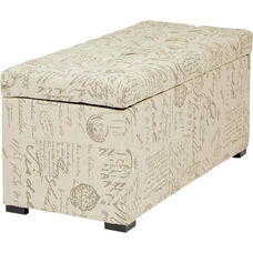 Ave Six Sahara Tufted Fabric Storage Bench with Solid Wood Legs - Script