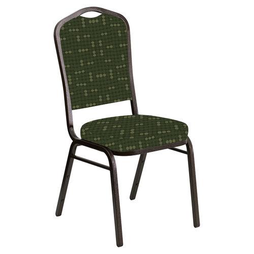 Crown Back Banquet Chair in Eclipse Fern Fabric - Gold Vein Frame