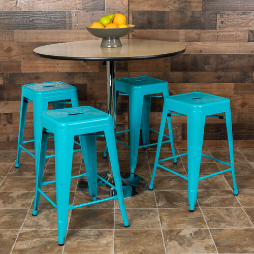 "Our 24"" High Metal Counter-Height, Indoor Bar Stool in Teal - Stackable Set of 4 is on sale now."