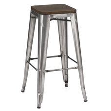 Dreux Clear Gunmetal Stackable Steel Barstool with Dark Elm Wood Seat - Set of 4