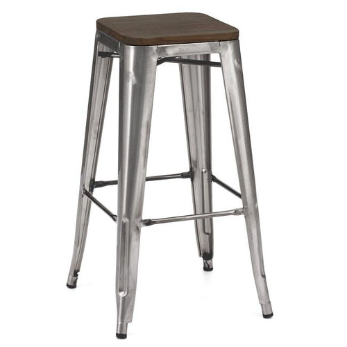 Our Dreux Stackable Steel Barstool with Dark Elm Wood Seat - Set of 4 is on sale now.