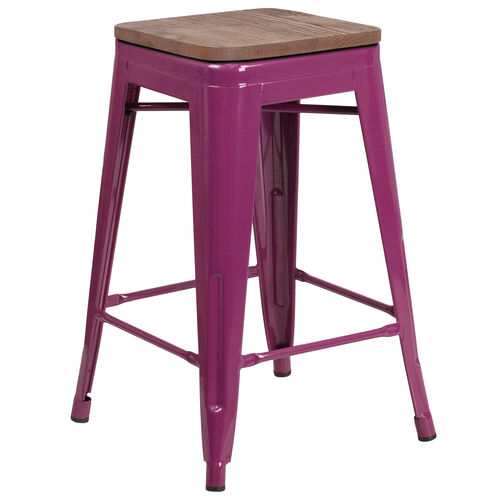 "Our 24"" High Backless Purple Counter Height Stool with Square Wood Seat is on sale now."
