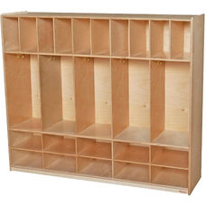 Wooden Five Section Locker Unit with 10 Storage Compartments - 58