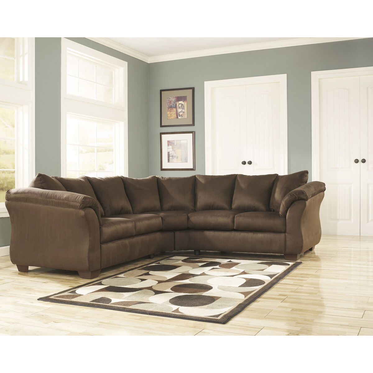 Signature Design By Ashley Darcy Sectional In Microfiber