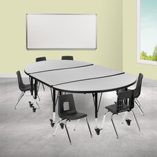 """Mobile 76"""" Oval Wave Collaborative Laminate Activity Table Set with 12"""" Student Stack Chairs, Grey/Black"""