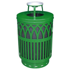 40 Gallon Covington Galvannealed Steel Ash Top Can with Plastic Liner - Green