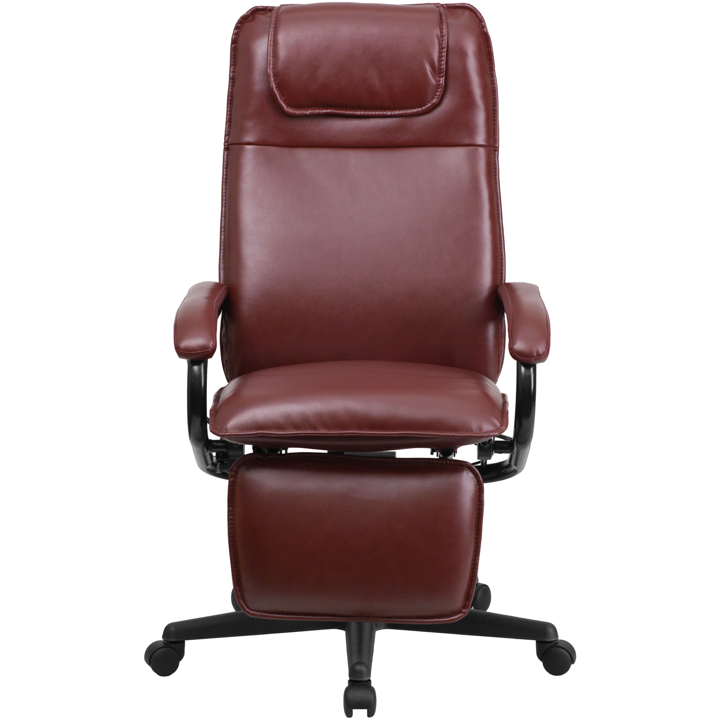 Our High Back Burgundy Leather Executive Reclining Swivel Chair With Arms  Is On Sale Now.