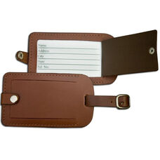 Rustic Leather Luggage Tag - Brown
