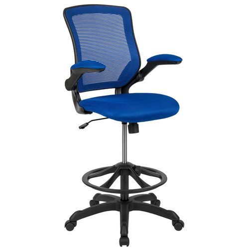 Our Mid-Back Blue Mesh Ergonomic Drafting Chair with Adjustable Foot Ring and Flip-Up Arms is on sale now.
