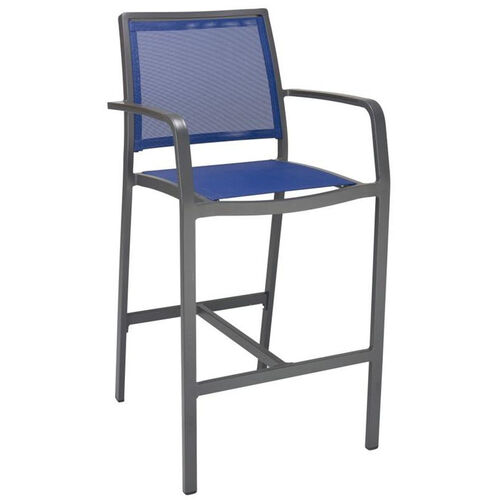 Our South Beach Collection Aluminum Outdoor Barstool with Arms and Textile Back - Blue is on sale now.