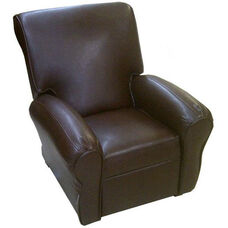 Big Kids Faux Leather Recliner - Pecan Brown