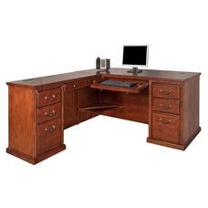 kathy ireland Home™ Huntington Collection L Shaped Workstation with Left Return -Burnish