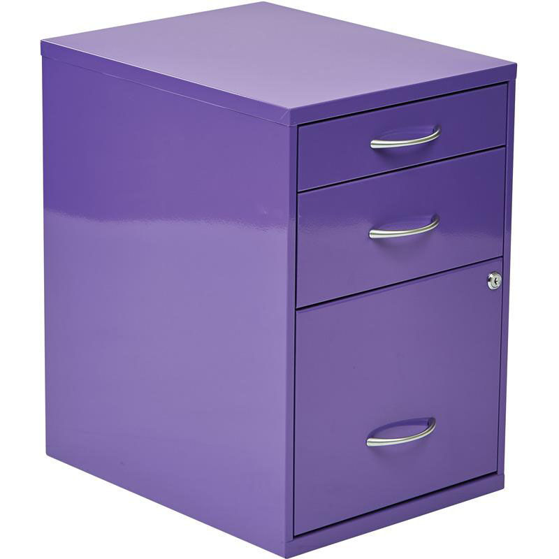 ... Our OSP Designs 3 Drawer Storage Cabinet With Locking Filing Drawer    Purple Is On