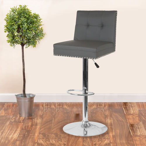Ravello Contemporary Adjustable Height Barstool with Accent Nail Trim in Gray LeatherSoft