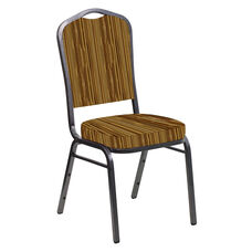 Crown Back Banquet Chair in Canyon Mojave Gold Fabric - Silver Vein Frame