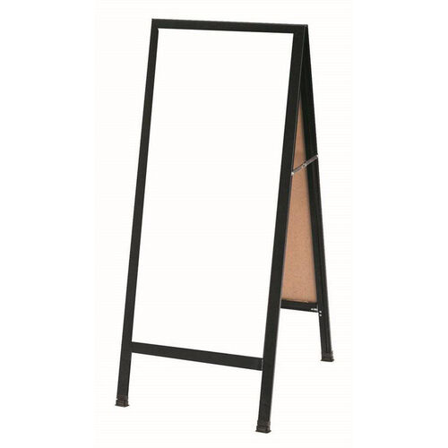 Our A-Frame Sidewalk White Melamine Marker Board with Black Aluminum Frame - 42