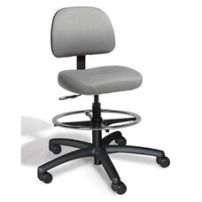 Dimension Medium Back Mid-Height Drafting Cleanroom ESD Chair - 4 Way Control - Black Vinyl