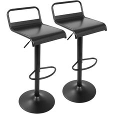 Emery Industrial Height Adjustable Swivel Barstool - Black - Set of 2