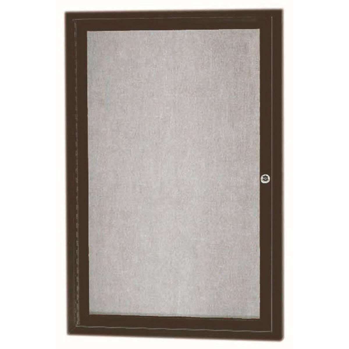1 Door Outdoor Illuminated Enclosed Bulletin Board With Bronze Anodized Aluminum Frame 36h X 24w