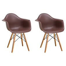 Paris Tower Arm Chair with Wood Legs and Chocolate Seat - Set of 2