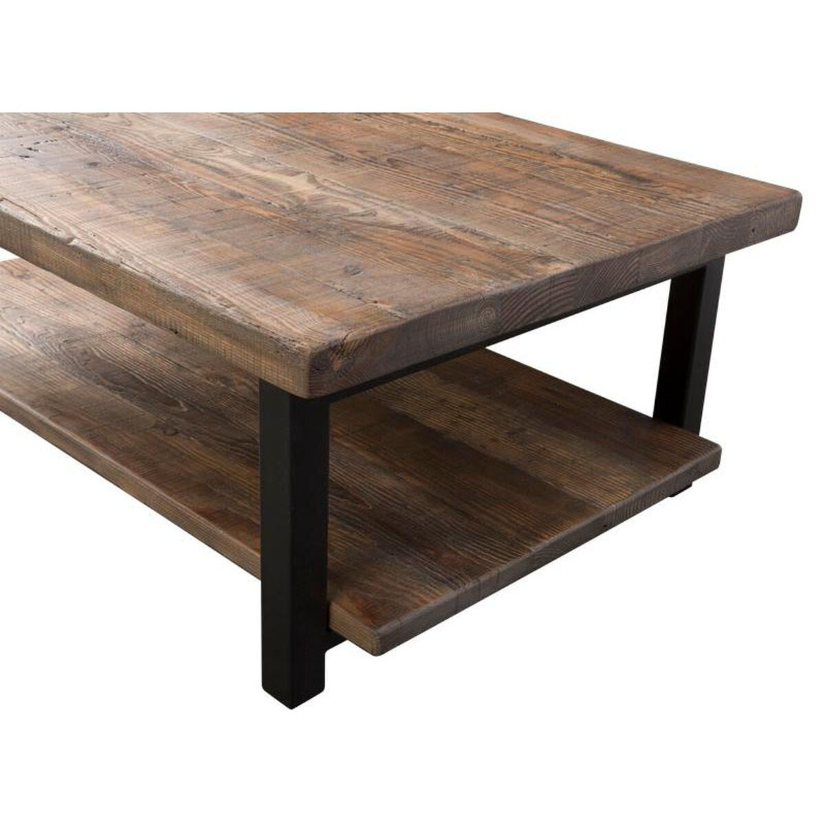 Rustic Wood And Metal Coffee Tables: Pomona Rustic Wood And Metal 48''W X 18''H Large Coffee