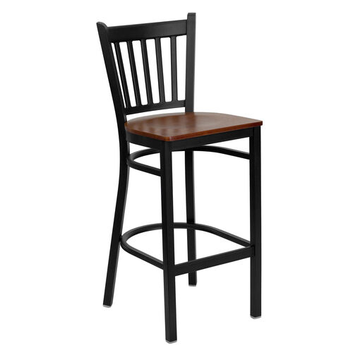 Our Black Vertical Back Metal Restaurant Barstool with Cherry Wood Seat is on sale now.