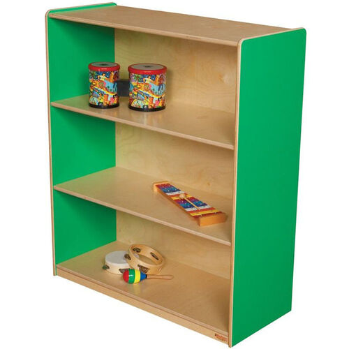 Our Wooden 3 Fixed Shelf Bookcase with Plywood Back - Green Apple - 36