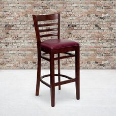 Mahogany Finished Ladder Back Wooden Restaurant Barstool with Burgundy Vinyl Seat