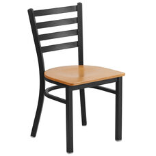 HERCULES Series Black Ladder Back Metal Restaurant Chair - Natural Wood Seat
