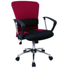 Mid-Back Burgundy Mesh Swivel Task Chair with Arms