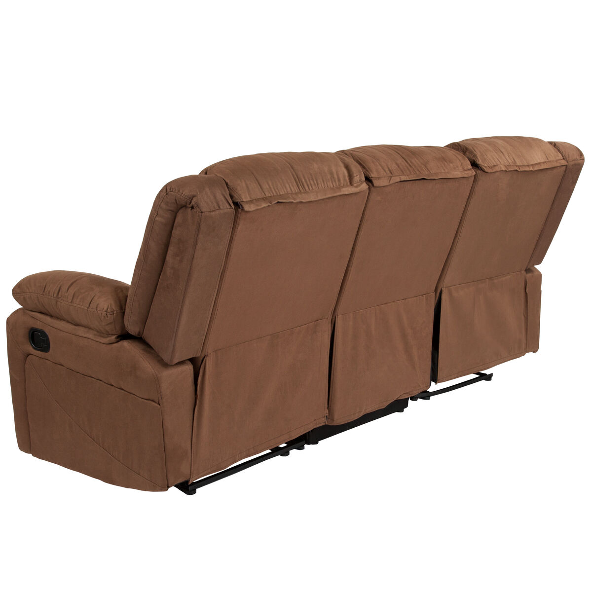 Our Harmony Series Chocolate Brown Microfiber Sofa With Two Built In Recliners Is On