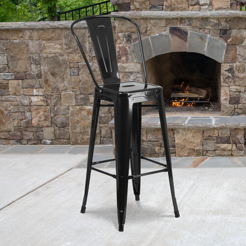 """Commercial Grade 30"""" High Metal Indoor-Outdoor Barstool with Back"""