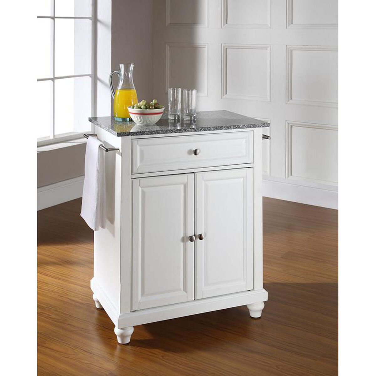 our solid granite top portable kitchen island with cambridge feet white finish is on sale - Granite Top Kitchen Island