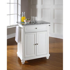 Solid Granite Top Portable Kitchen Island with Cambridge Feet - White Finish