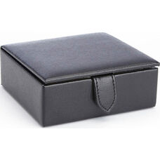 Suede Lined Travel Cufflink Storage Box Holds 4 Pairs - Saffiano Genuine Leather- Black