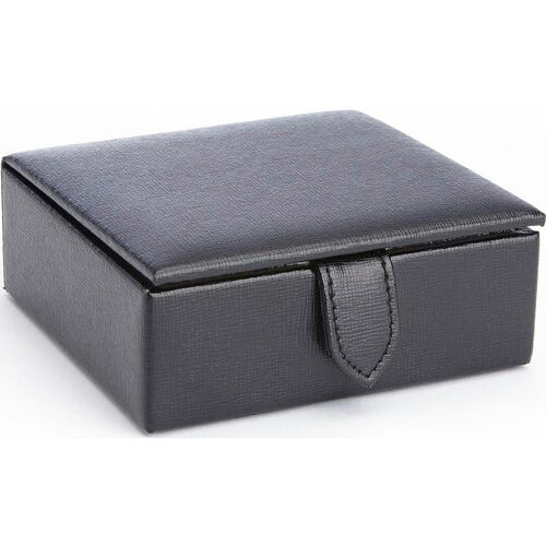 Our Suede Lined Travel Cufflink Storage Box Holds 4 Pairs - Saffiano Genuine Leather- Black is on sale now.