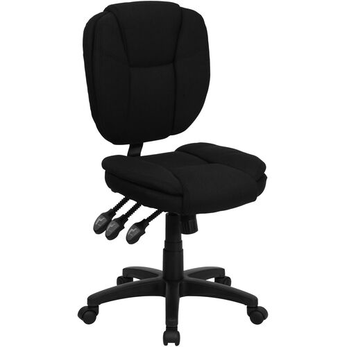 Mid-Back Multifunction Swivel Ergonomic Task Office Chair with Pillow Top Cushioning
