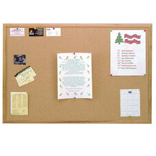 Wood Framed Natural Self-Healing Cork Bulletin Board - 18