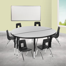 """47.5"""" Circle Wave Collaborative Laminate Activity Table Set with 14"""" Student Stack Chairs, Grey/Black"""