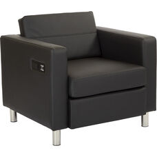 Work Smart Atlantic Chair with Single Charging Station - Dillon Black