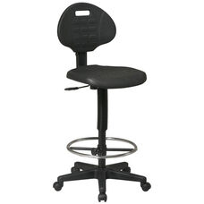 Work Smart Standard Armless Drafting Chair with Adjustable Footrest and Adjustable Seat Height - Black