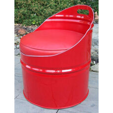 Very Red Steel Drum Club Chair with Red Accents