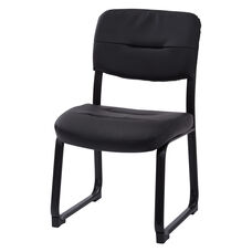 Work Smart Armless Faux Leather Visitor Chair with Sled Base - Black