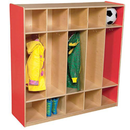 Our Strawberry Red 5-Section Locker with Two Coat Hooks in Each Section - Assembled - 48