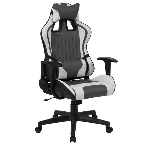 Our Cumberland Comfort Series High Back Gray and White Executive Reclining Racing/Gaming Swivel Chair with Adjustable Lumbar Support is on sale now.