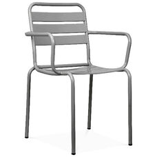 Paris Grey Metal Stackable Arm Chair - Set of 4