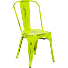 OSP Designs Bristow Stackable Armless Metal Chair - Set of 4 - Antique Lime